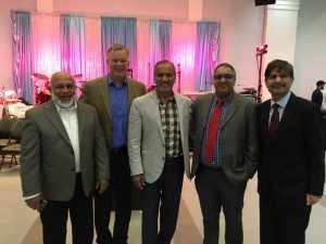 Eid-Ul-Fitr celebration of the Pakistan Canada Association on Sunday July 10, 2016 Left to Right Musa Ismail, Former president of the BC Muslim Association, Bruce Ralston, MLA Surrey-Whalley, Harry Bains, MLA Surrey-Newton, Raza Marani and Dr. Muhammed Tariq, Consul General of Pakistan in Vancouver