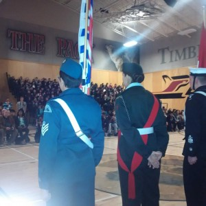 November 10 2015 The colour party bearing the flags of Canada and of British Columbia facing the Kwantlen Park Secondary School assembly of students commemorating Remembrance Day at the school this morning.