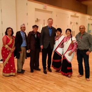 November 14 2015 With some friends who are members of the Mha Puja Cultural Group ( formed by Canadians of Nepalese origin) at an event in the Fleetwood neighbourhood of Surrey tonight.