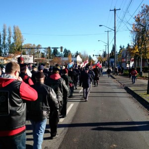 November 11 2015 The parade before the ceremony at the Whalley Legion in Surrey. We're marching east on 108th Avenue and about to turn south on to King George Boulevard.