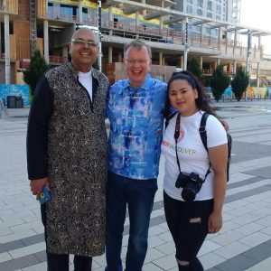 At Surrey Pride this morning with (right) Alex Sangha and (left) Lene Son documentary film maker. Today is Surrey's first parade although it's the 18th annual festival of Pride in Surrey.